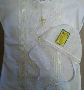 Крестильная рубашка+чепчик