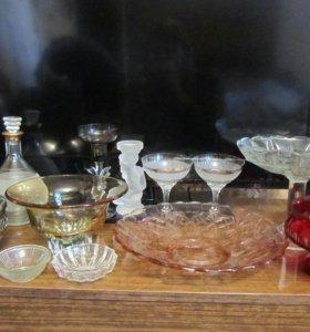 Стекло СССР бокалы,конфетницы,блюдо,графин посуда
