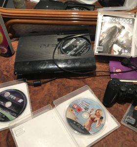 PlayStation 3 slim+500gb gta5+ FIFA 16+watch dogs