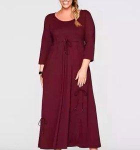 Платье макси, кленово-красный цвет. 52-56р.Новое.