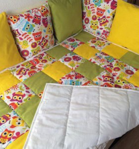 Бортики в кроватку + одеялко