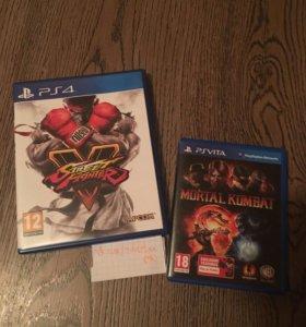 Street fighter V (ps4) + Mortal Combat (psv)