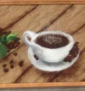 "Картина из шерсти ""Чашка кофею"""