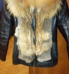 Куртка жилетка натуральная кожа натуральный мех