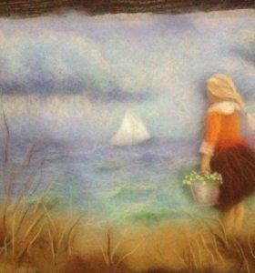 """Картина из шерсти """"Девочка у моря"""""""