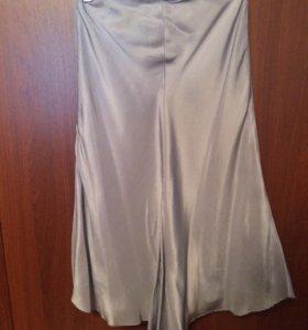 Mango юбка натуральный шелк новая