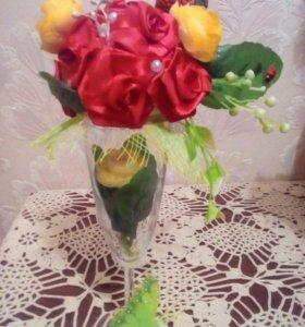 Топиарий цветочная композиция в бокале