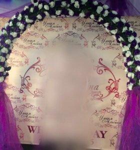 Свадебная арка и 4 стойки из искусственных цветов
