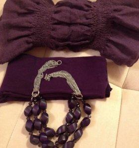 Бусы фиолетовые деревянные