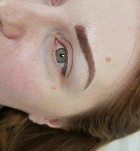 Татуаж бровей и глаз(волосковая и теневая техника)