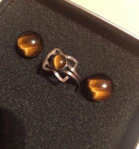 Серьги, кольцо