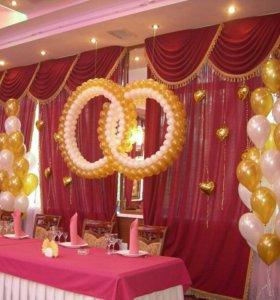 Кольца и фонтаны из шаров. гелиевые шары