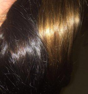 Натуральные волосы (около 200 прядей-45-50 см)