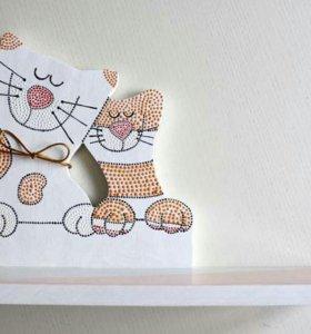 Полочка ручной работы из дерева,, Котики- сладкая