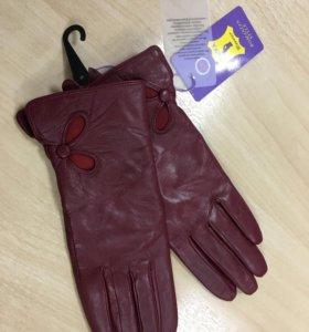 Новые перчатки 6.5 натур кожа