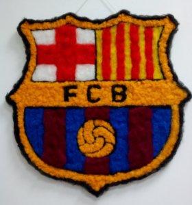 Эмблема фк Барселона из шерсти, ручная работа
