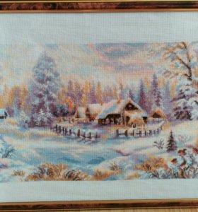 """Вышивка """"Зимний пейзаж"""""""