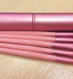 Набор кистей в футляре , 5 шт, розовый
