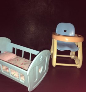 """Детский набор-,,Кроватка и  кормильный столик"""""""