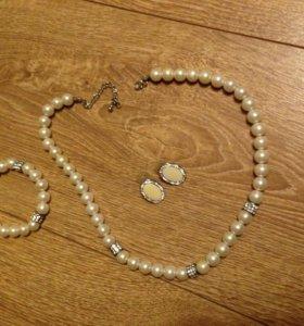 Комплект бижутерия (Серьги, браслет, бусы) Новый