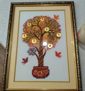 Денежное дерево(вышивка крестом и бисером)