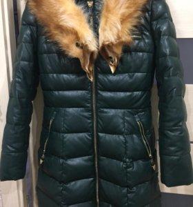 Пуховик экокожа , пальто