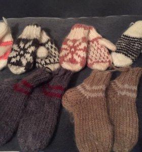 Детские вязаные варежки и носки!