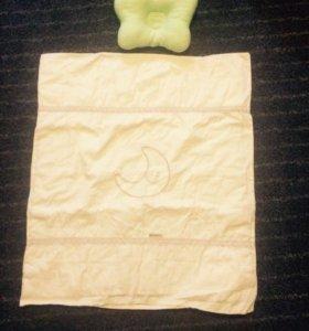 Одеяло и подушка для новорожденного.