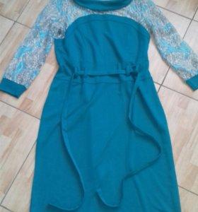 Платье с кружевным верхом бирюзовое