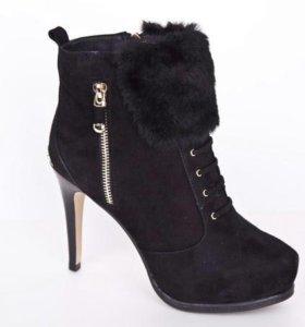 Ботинки замша, зима. Новые