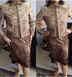 Куртка+юбка, натуральная замша, PODIUM, Италия