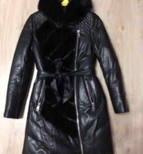 Новый кожаный зимний пуховик