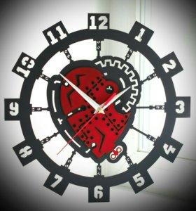 Настенные часы Сердце Стимпанк из пластинки