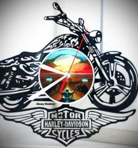 Harley Davidson Часы из виниловой пластинки