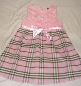 Платье розовое шотландка