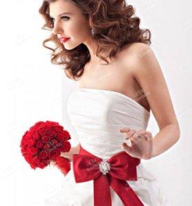 Пояс НОВЫЙ красный, для свадебного и вечернего