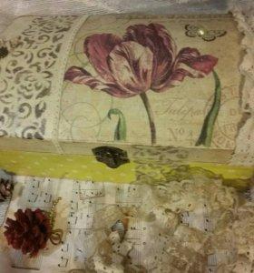 Винтажная шкатулка для шитья. Декупаж