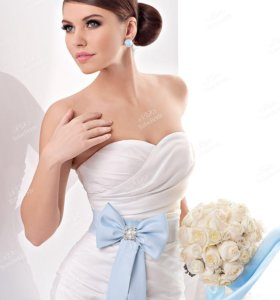 Пояс НОВЫЙ голубой, для свадебного и вечернего