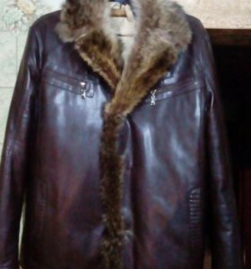 Куртка кожаная,мех натурал