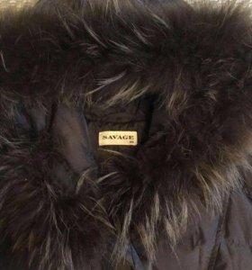 Пуховик- пальто шоколадного цвета Savage
