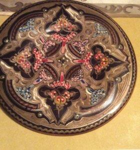 Тарелка медь эмаль коллекционная