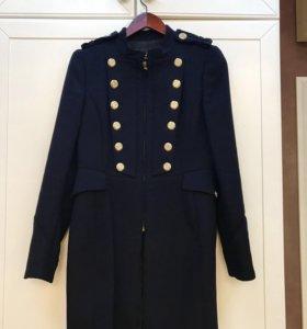 Пальто Zara темно-синее