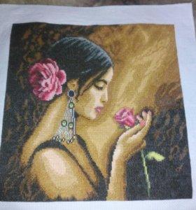 Картина девушка с розой