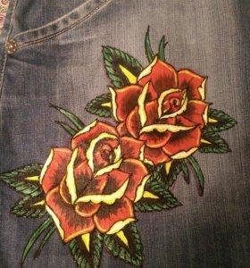 Джинсовая юбка с рисунком ручной работы handmade