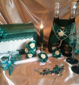 """Свадебный набор """"Зелёный атлас"""""""