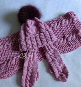 Комплект(шапка,рукавицы,шарф)
