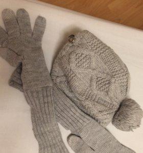 Тёплый набор шляпа и перчатки