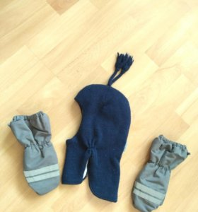 Шапка - шлем и краги варежки для ребенка 1,5-2 г.