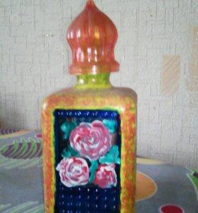 Бутылка расписная цветы