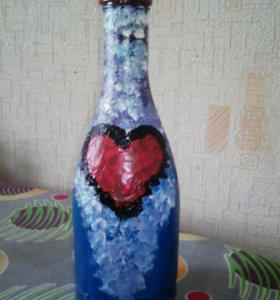 Бутылка расписная сердце